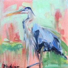 Blue Heron painting by Louisiana Artist Denise Hopkins