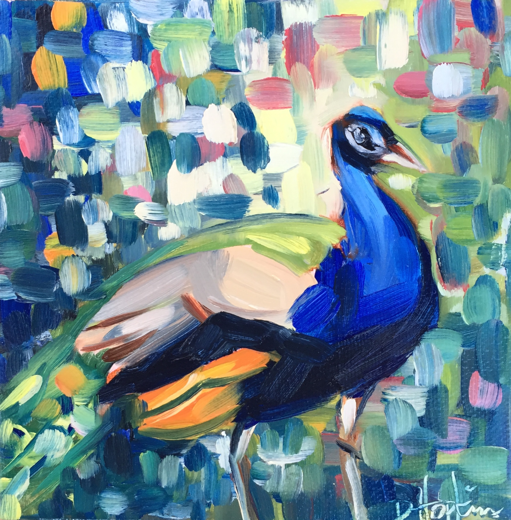 Peacock painting by Louisiana artist Denise Hopkins